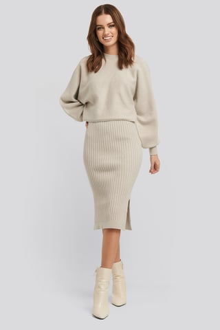 Beige Rib Knitted Skirt