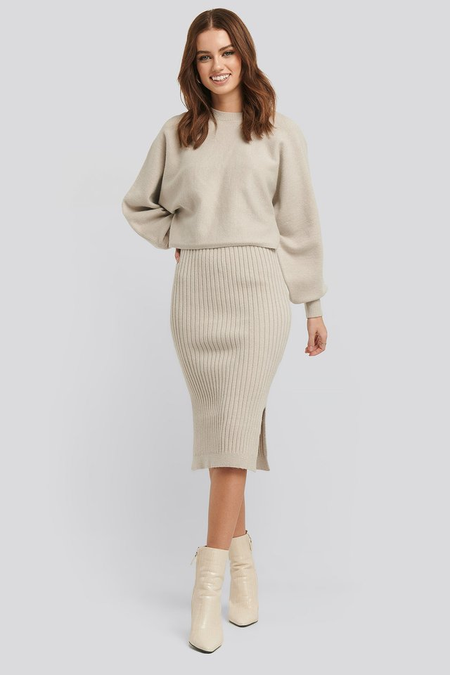 Rib Knitted Skirt Beige