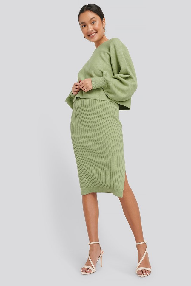 Rib Knitted Skirt Green