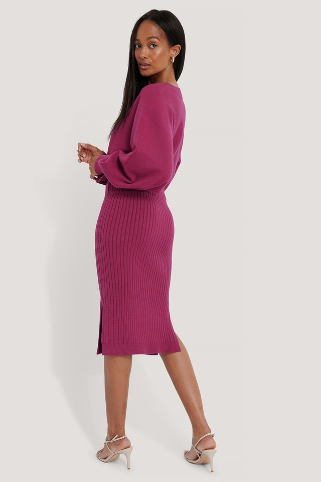 Dark Rose Rib Knitted Skirt