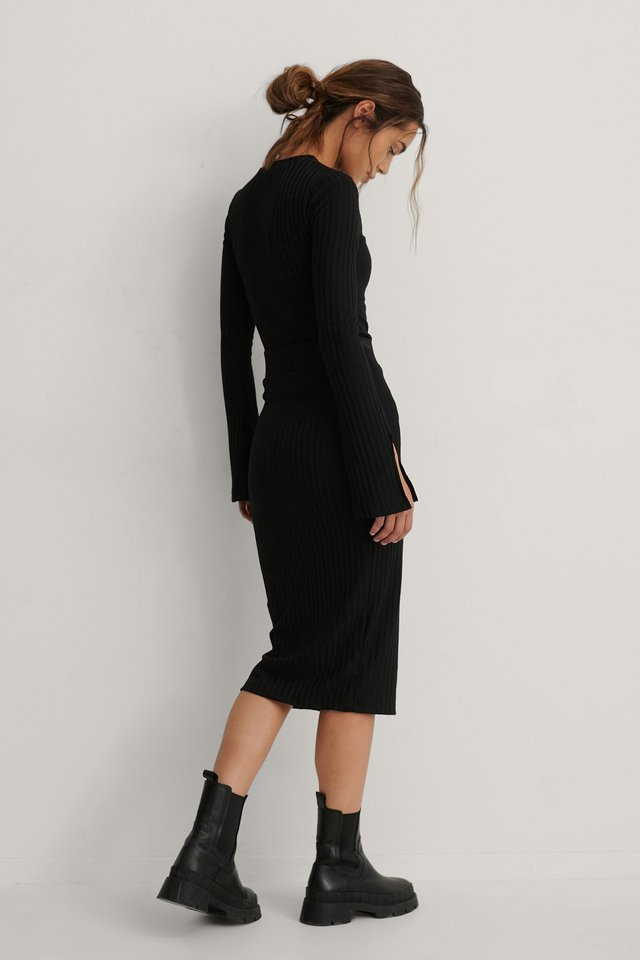 Black Rib Mid Skirt