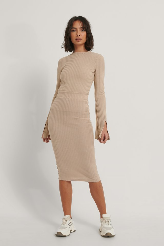 Beige Recycled Rib Mid Skirt