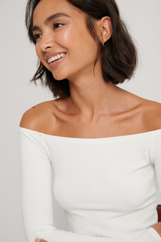 Rib Off Shoulder Top Offwhite