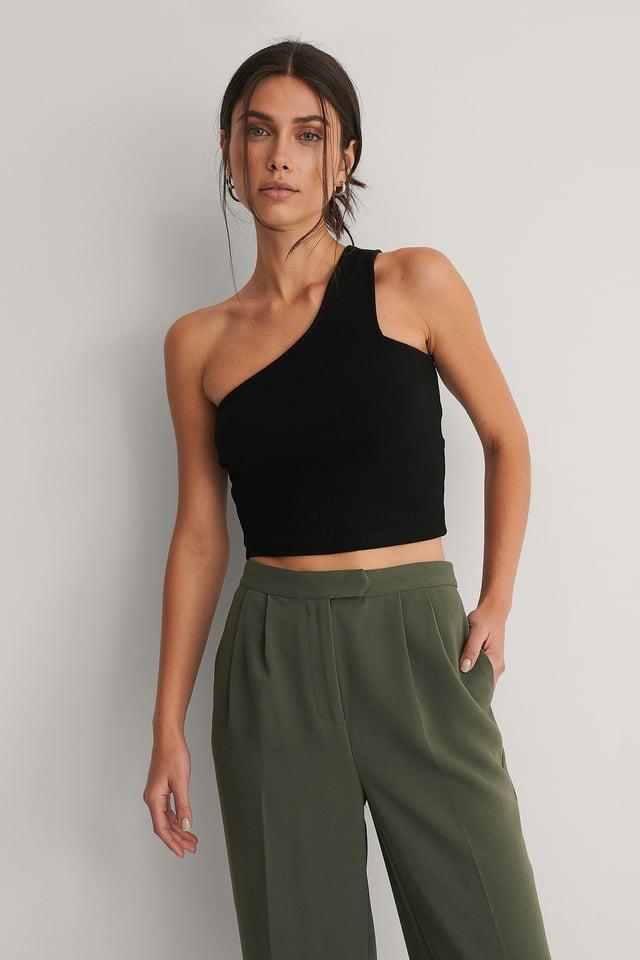 Black One-Shoulder Geribde Top