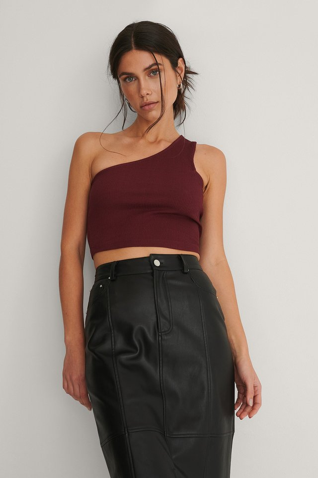 Burgundy One-Shoulder Geribde Top