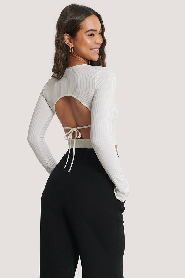 Rib Open Back Top Offwhite