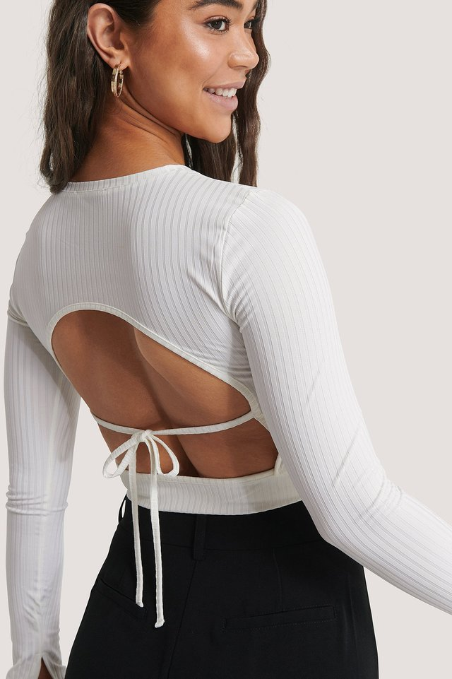 Offwhite Rib Open Back Top