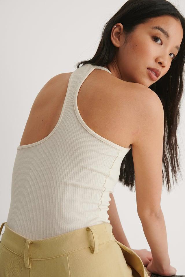 White Rib Shape Back Top