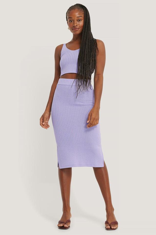 Rib Slit Skirt Lilac
