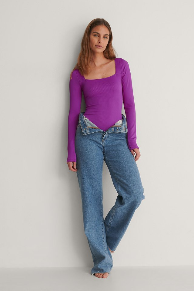 Purple Ribbed Active Bodysuit