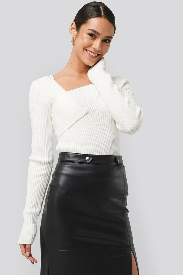 Ribbed Asymmetric Sweater White