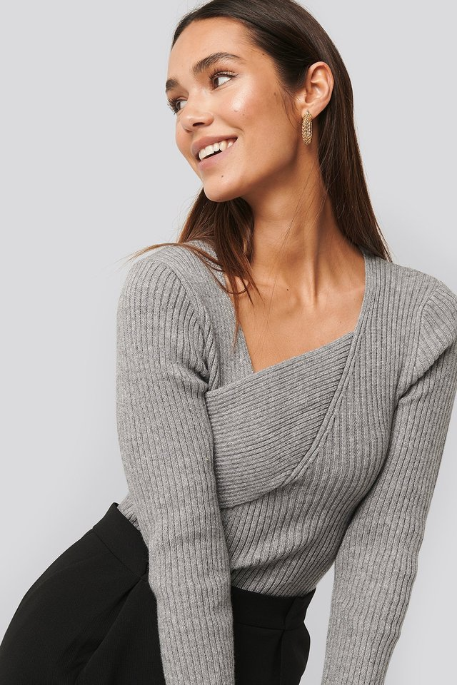 Ribbed Asymmetric Sweater Light Grey