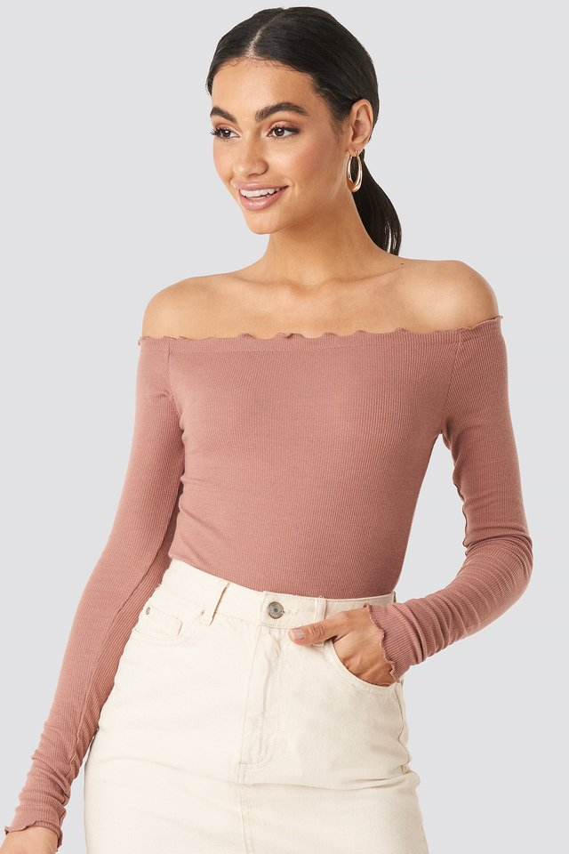 Ribbed Babylock Off Shoulder Body Dusty Dark Pink