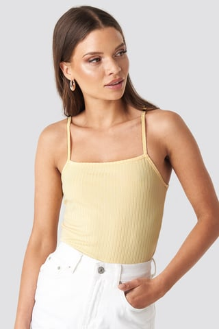 Light Yellow Ribbed Bandeau Strap Singlet