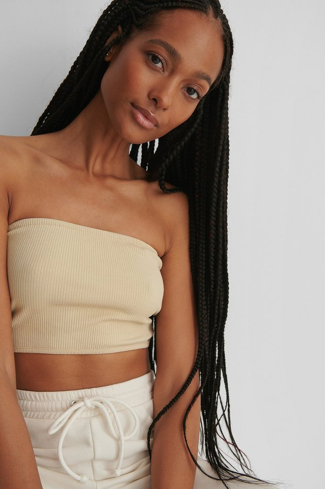 Light Beige Ribbed Bandeau Top