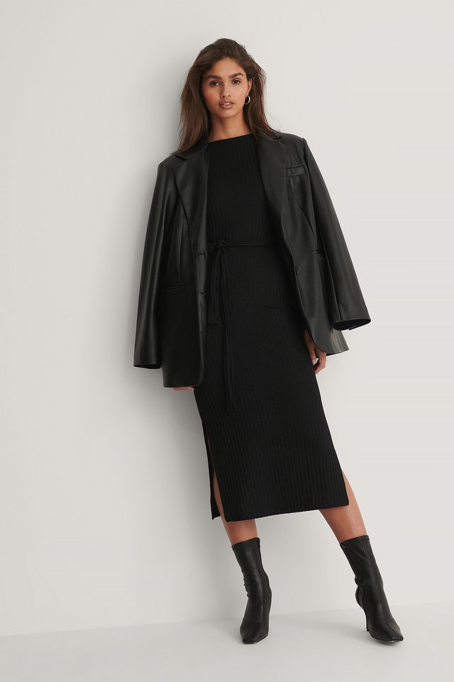 Black Recycled Ribbed Belt Dress