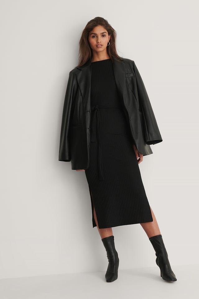 Black Ribbed Belt Dress