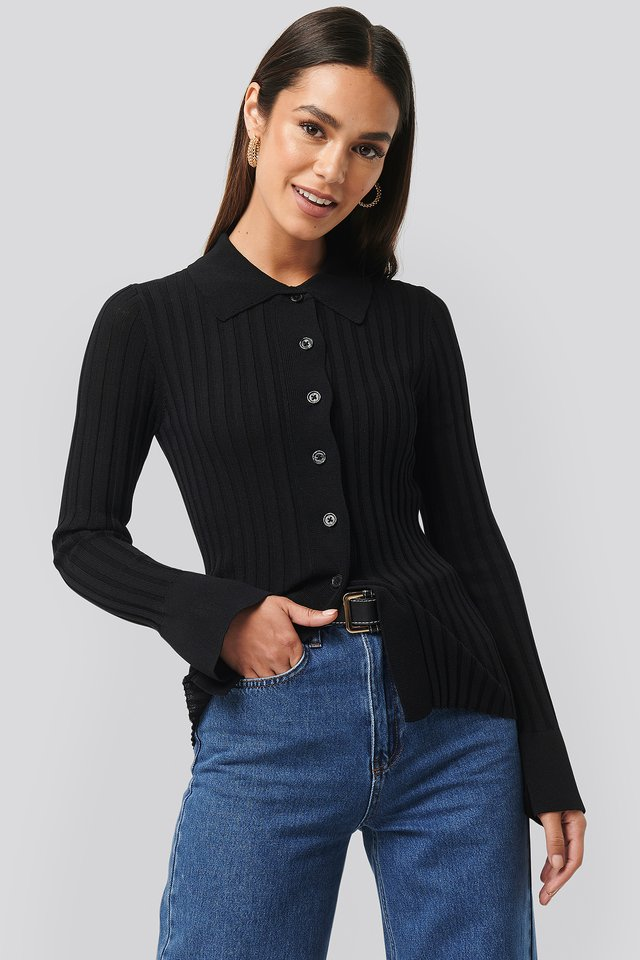 Ribbed Buttoned Knitted Sweater Black