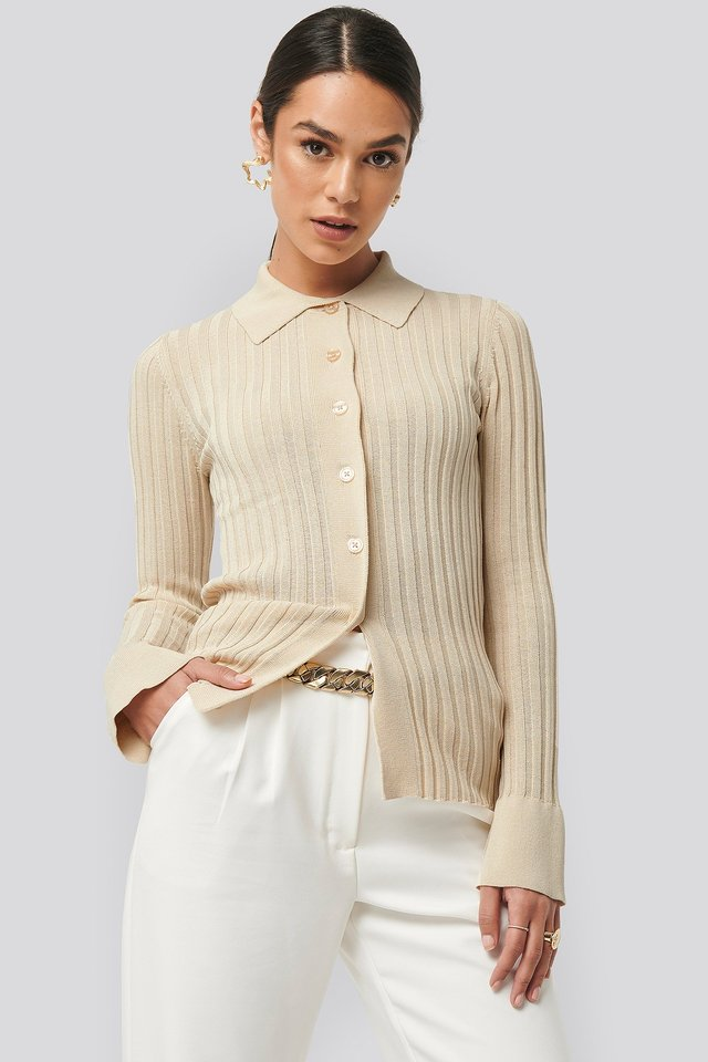 Ribbed Buttoned Knitted Sweater Light Beige