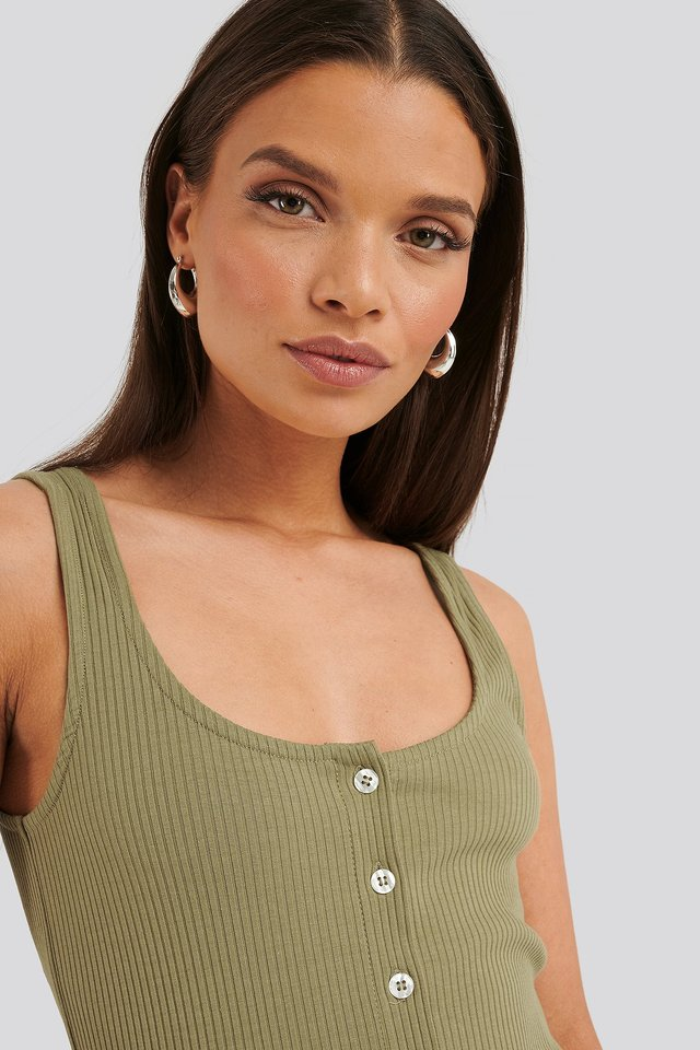 Ribbed Cropped Button Top Khaki
