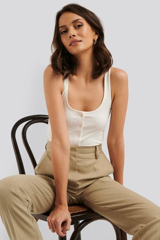 Offwhite Ribbed Cropped Button Top
