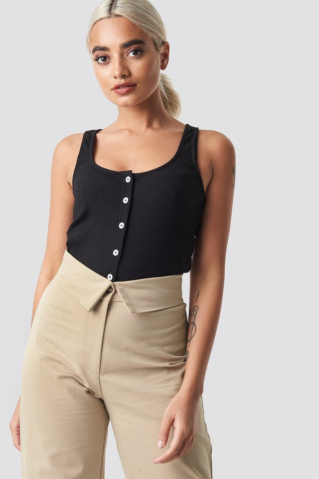 Ribbed Cropped Button Top Black