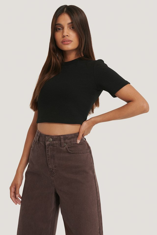 Ribbed Cropped Tee Black