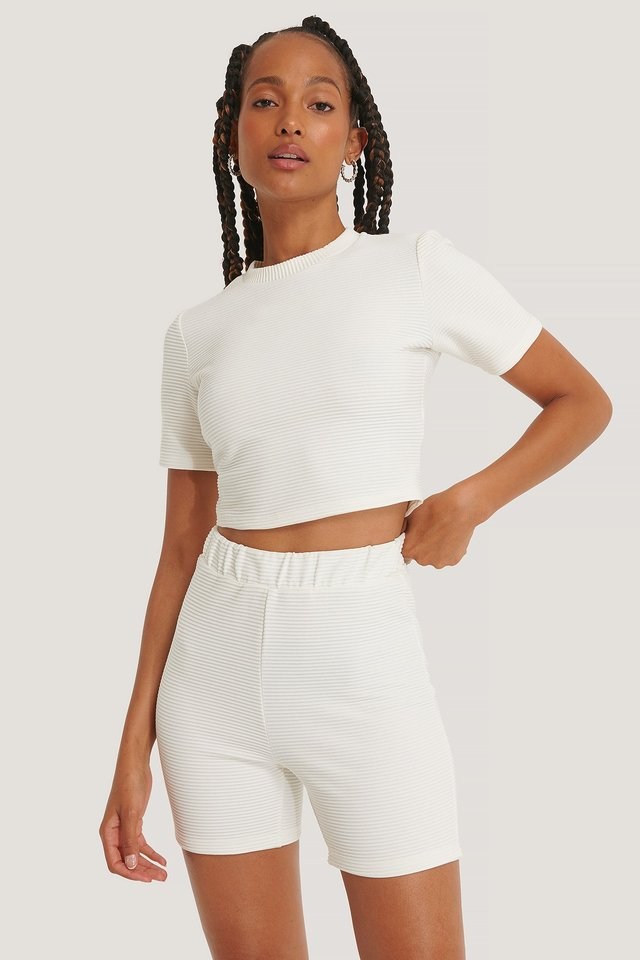 Ribbed Cropped Tee Offwhite