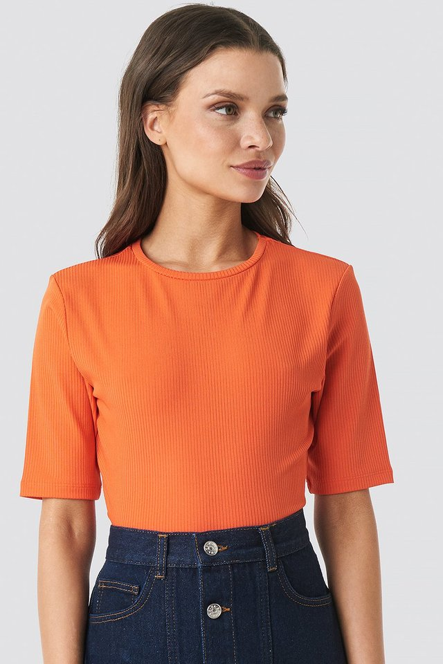 Ribbed Cropped Top Coral