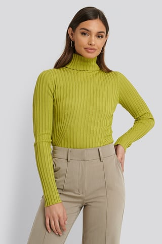 Green Ribbed Detail Knitted Polo Sweater