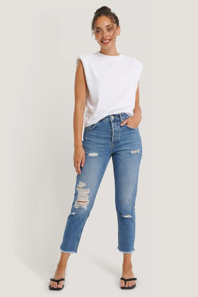 Organic Ripped Detail Mom Jeans Mid Blue
