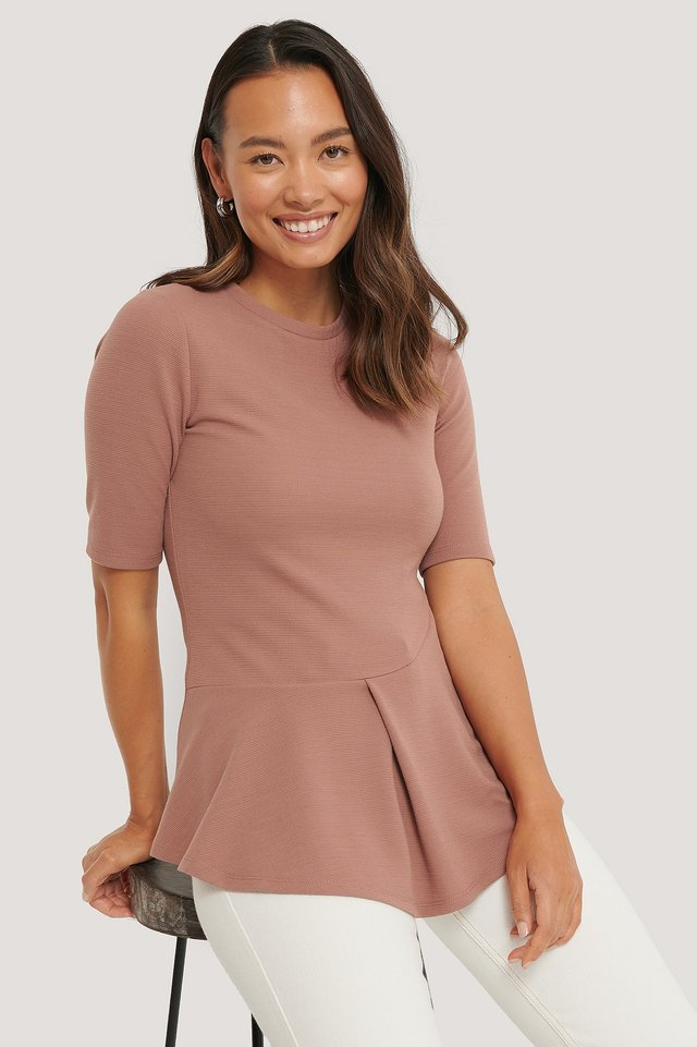 Dusty Dark Pink Reciclada Top Acanalado Con Volantes