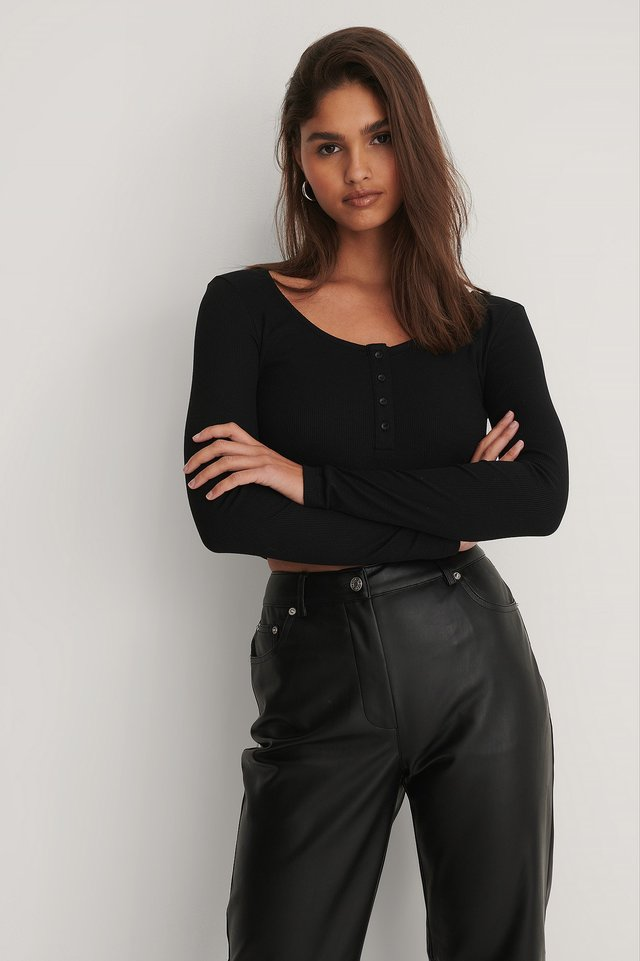 Black Ribbed Henley Crop Top