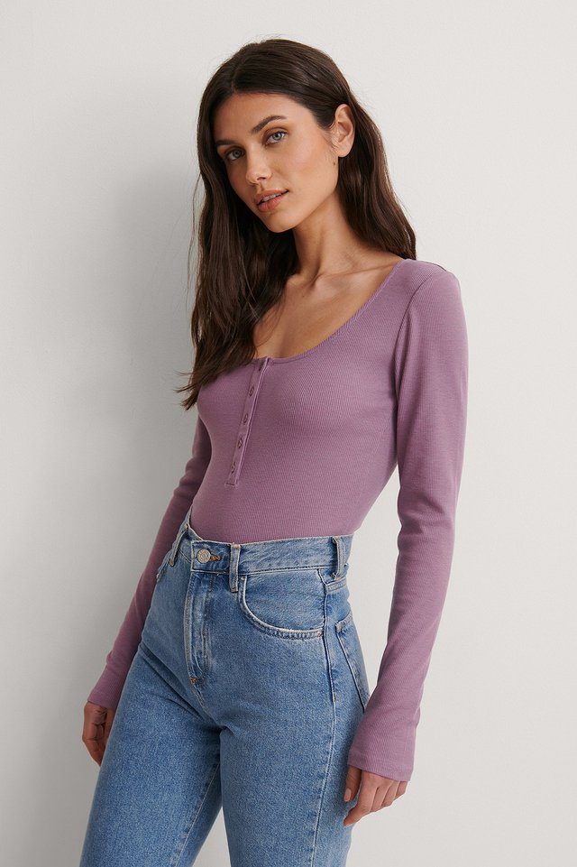 Purple Ribbed Henley Top