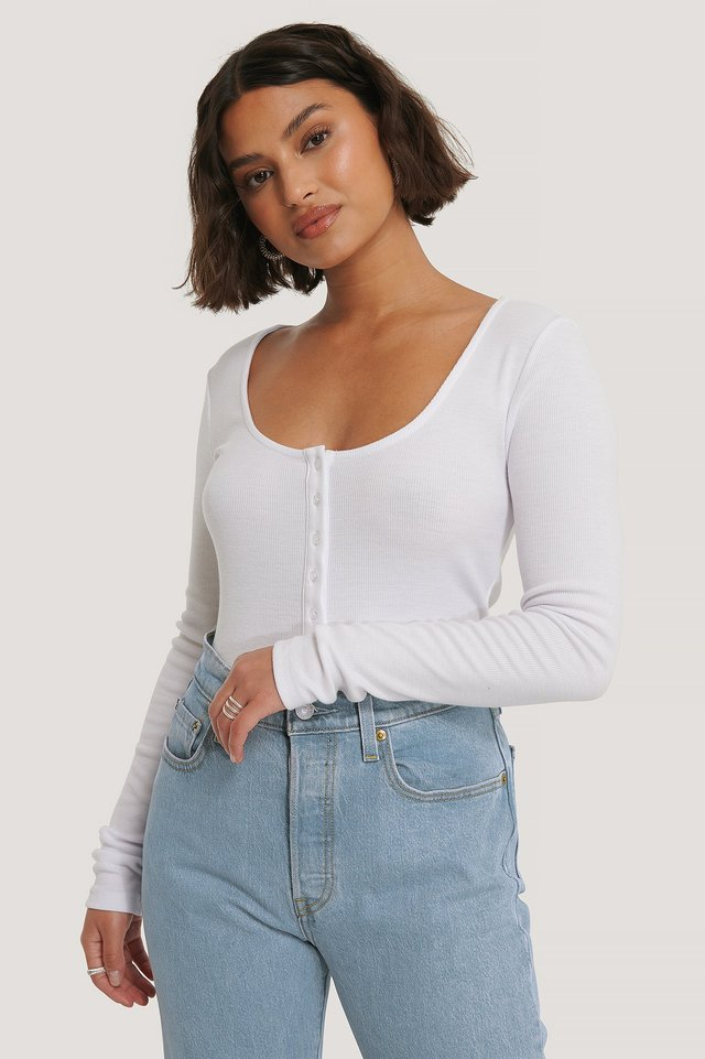 Ribbed Henley Top Offwhite
