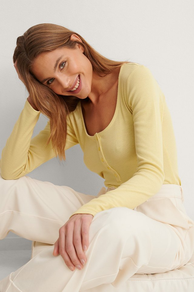 Light Yellow Ribbed Henley Top