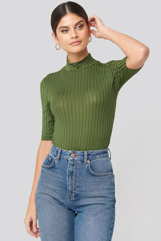 Green Ribbed High Neck Body