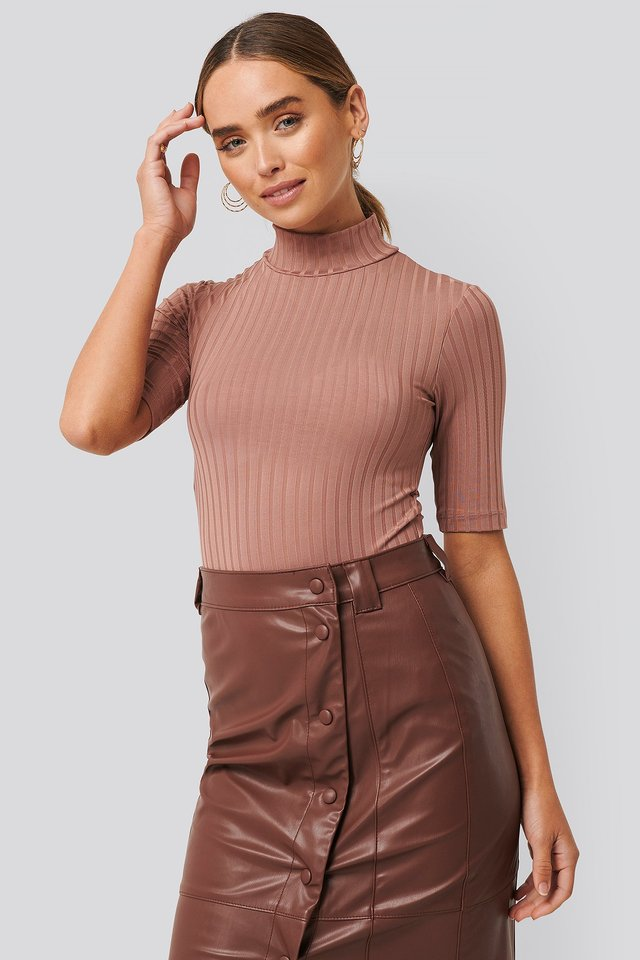 Ribbed High Neck Body Dusty Dark Pink