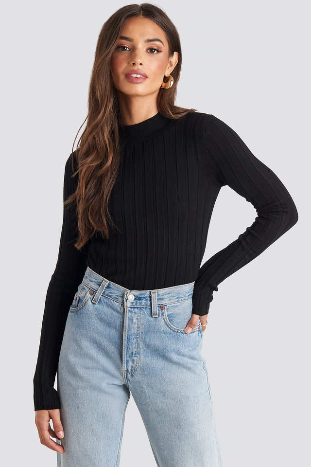 Ribbed High Neck Knitted Sweater NA-KD
