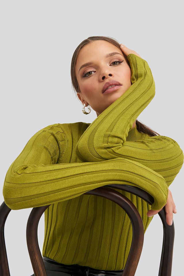 Olive Green Ribbed High Neck Knitted Sweater