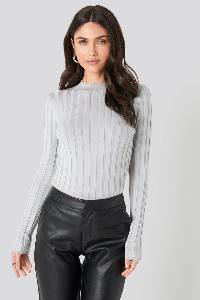 Ribbed High Neck Knitted Sweater Light Grey