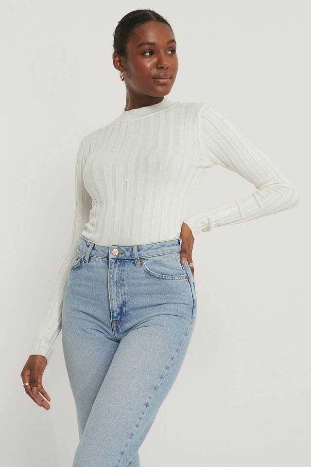 Offwhite Ribbed High Neck Knitted Sweater