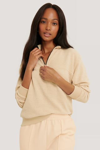 Beige Ribbed Jacquard Sweat