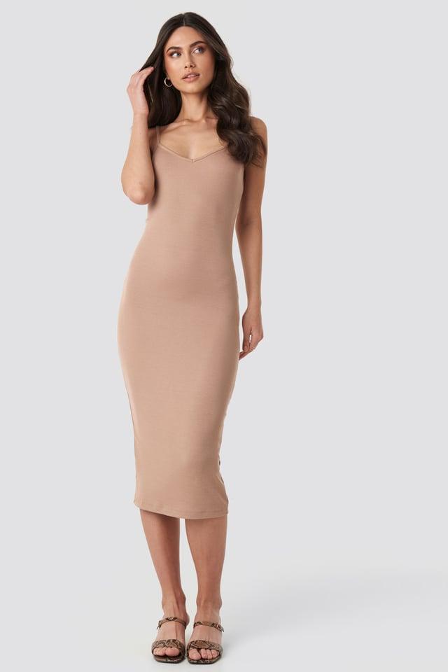 Ribbed Jersey Midi Dress Beige