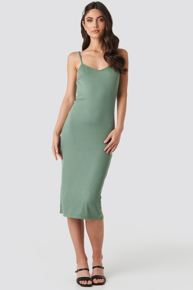 Ribbed Jersey Midi Dress Khaki