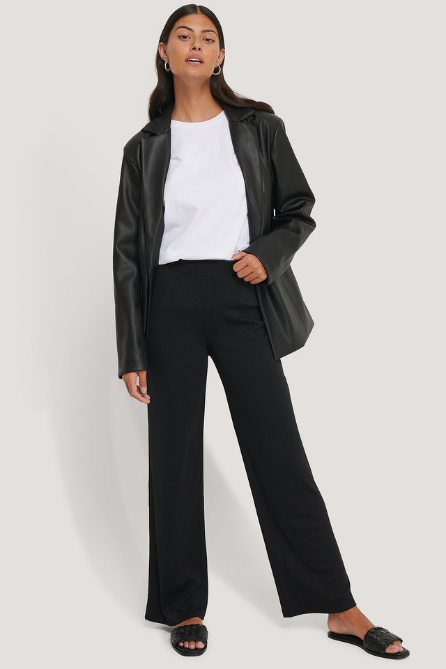 Black Ribbed Jersey Pants