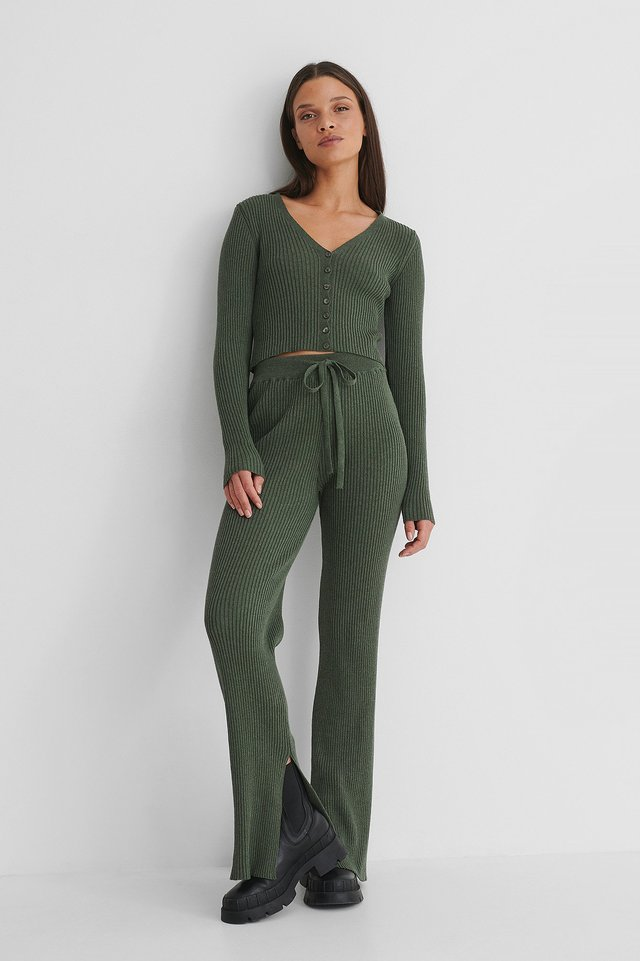 Ribbed Slit Pants Dark Green