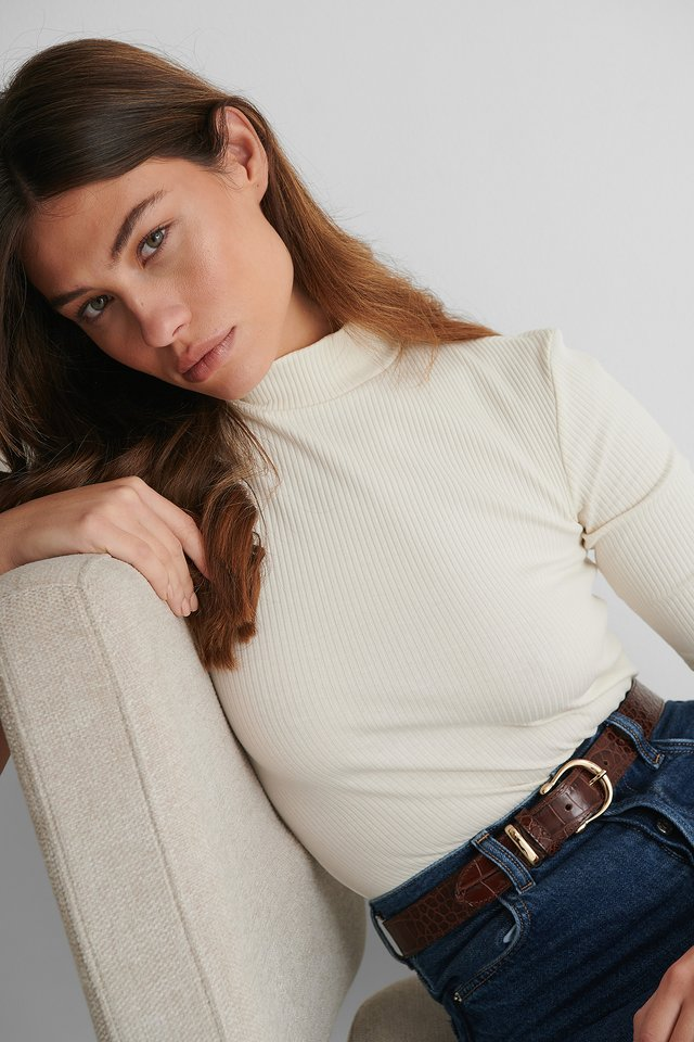 Ribbed Jersey Top White