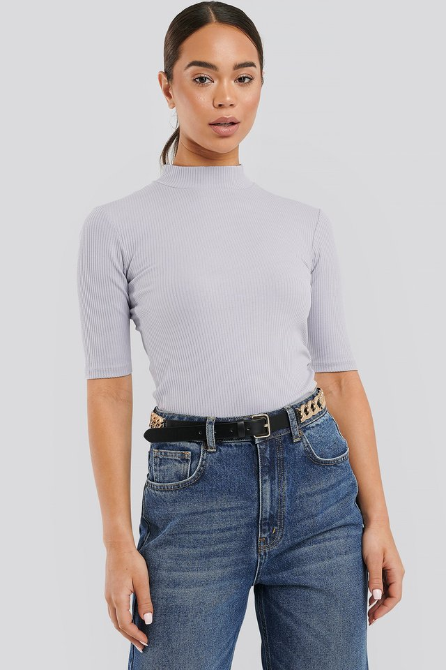 Ribbed Jersey Top Purple