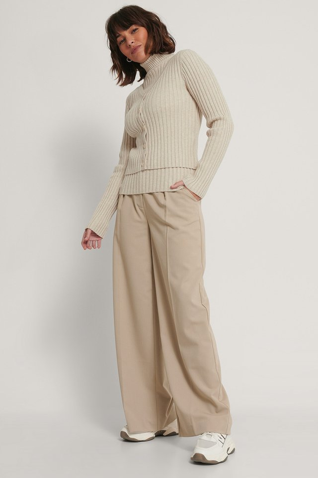 Ribbed Knitted Cardigan Light Beige